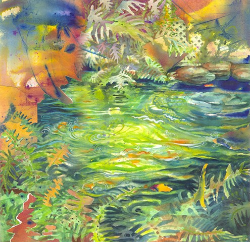 semi abstract painting of a fishpond with Koi