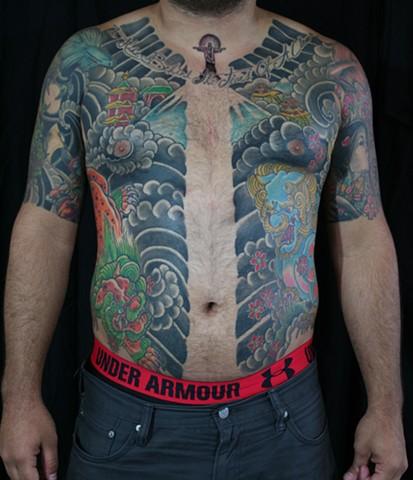 Fudog karajishi tattooagogo irezumi horimono munwari wabori cherryblossoms sakura donn davis