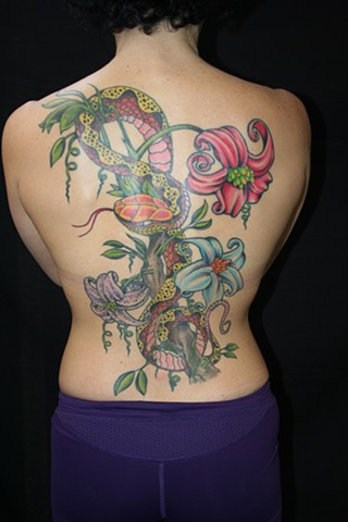 Backpiece of Snake and Lilies