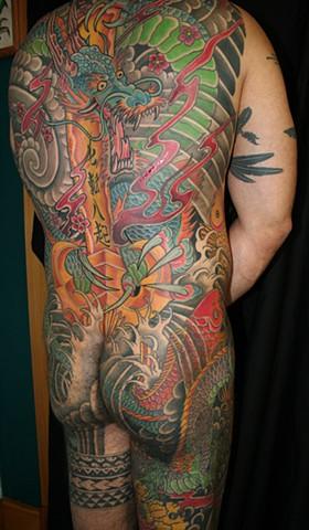 fudo myoo dragon Kurikaraken horimono irezumi tattooagogo horimono koi backpiece