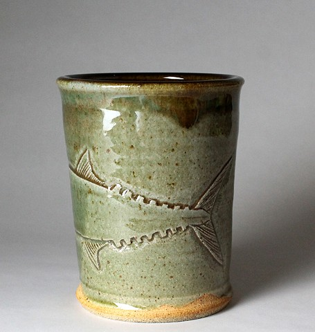Hand Carved Kingfish Tumbler (c)
