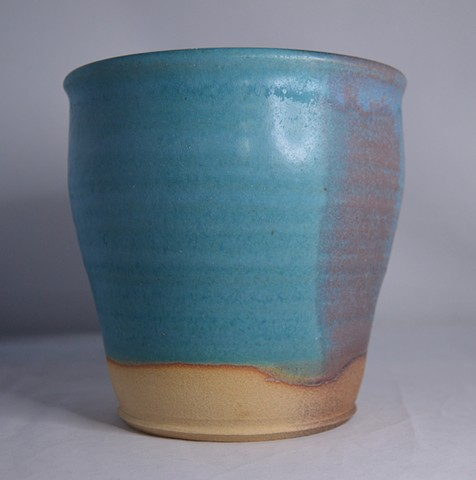 Turquoise and Red Plant Pot