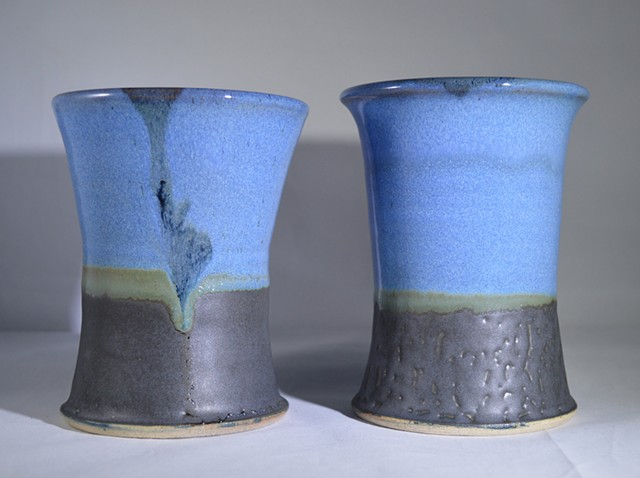 Shiny Blue Opal and Green Blue Black Tumblers