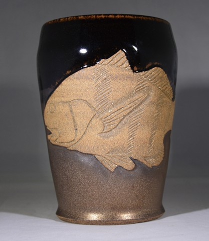 Carved Black Drum Fish Tumbler