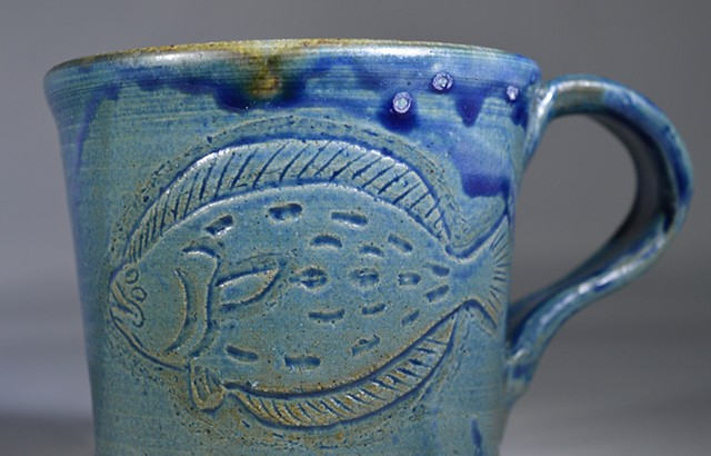 Hand Carved Flounder and Shrimp Mug (a)