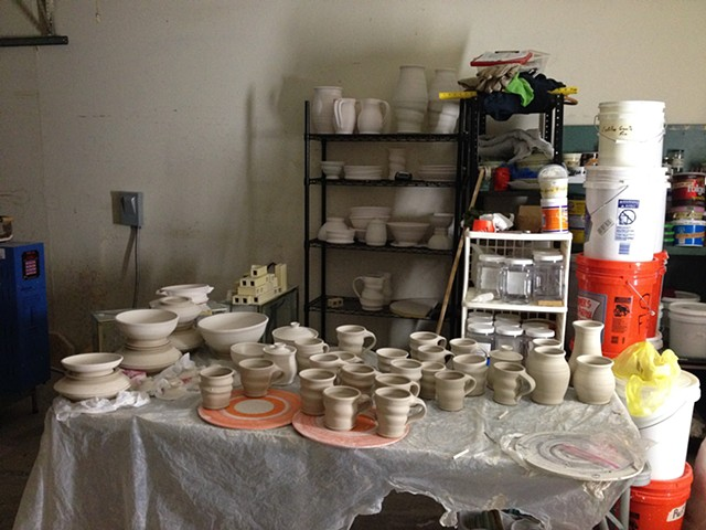 Pots ready for bisque firing