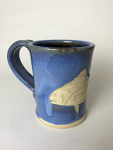 Hand Carved Black Drum Fish Mug (a)