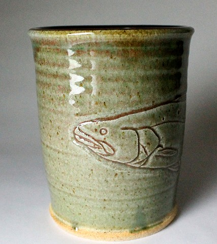 Hand Carved Speckled Trout Fish Tumbler (a)