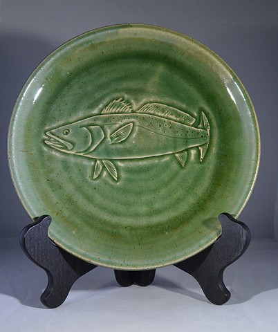 Hand Carved Speckled Trout Fish Plate (a)