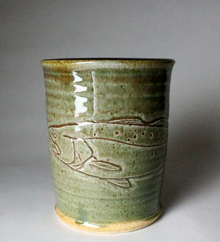 Hand Carved Speckled Trout Tumbler (b)