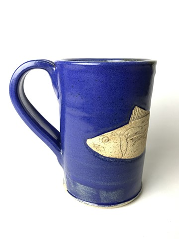 Hand Carved Spanish Mackerel Fish Mug (a)