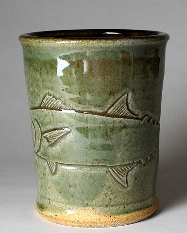 Hand Carved Kingfish Tumbler (b)