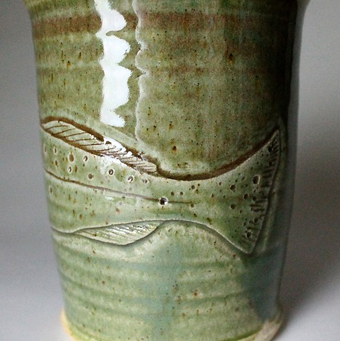 Hand Carved Speckled Trout Fish Tumbler (d)