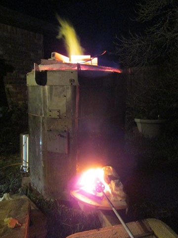 The propane gas reduction kiln firing.