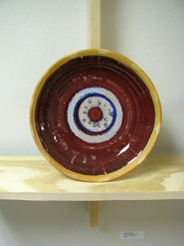 exhibition copper red soda fired plate