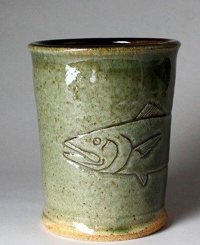 Hand Carved Kingfish Tumbler (a)