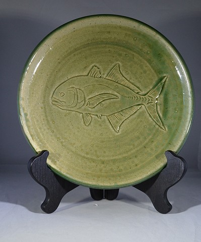 Hand Carved Jack Crevalle Fish Plate (a)