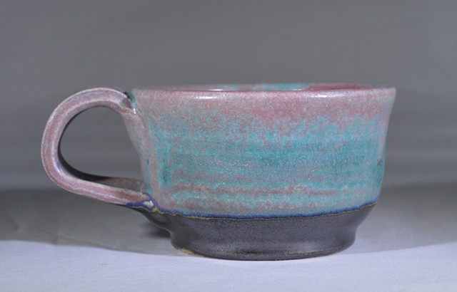 SMALL RED BLACK AND BLUE MUG