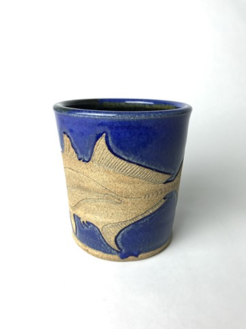 Hand Carved Spanish Mackerel Fish Mug (b)