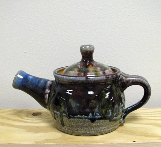 teapot soda fired copper cobalt flashing slip