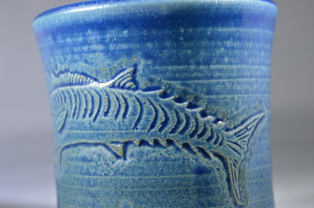 Hand Carved Kingfish Cup (c)