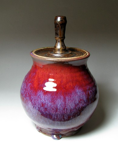 pottery copper red manganese lidded jar