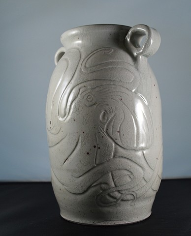 Hand Carved Octopus Vase (a)