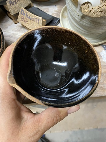 Testing new glaze on a tea bowl