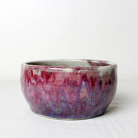 Red and Green Multi-glazed Bowl