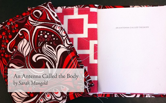 An Antenna Called the Body poetry chapbook by Sarah Mangold, Little Red Leaves Textile Series