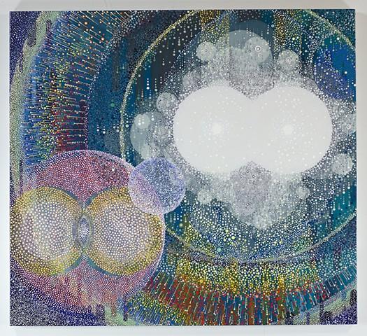 Acrylic painting, pointillism