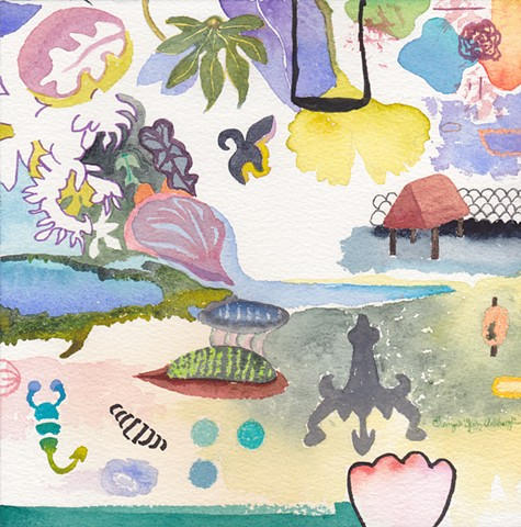 an inlet tidal pools, with leaf shapes, sea life, a scorpion, a swing, and a shelter hut by Georgia Spivey Ashbaugh