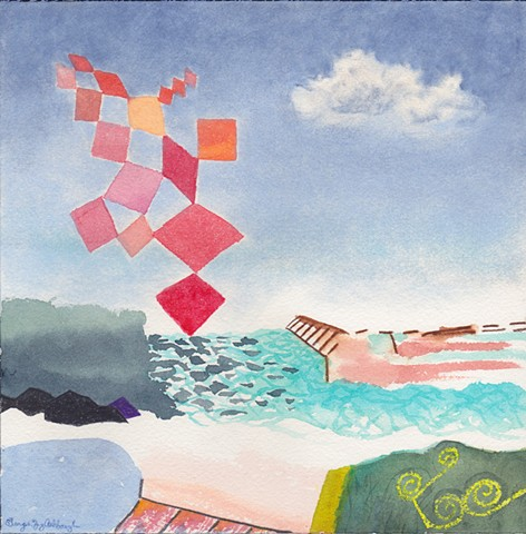 watercolor of a visionary landscape with harbor, pool, levy, pier, sofa, ocean, sky with clouds and spiritual lightening sculpture coming from God by Georgia Spivey Ashbaugh