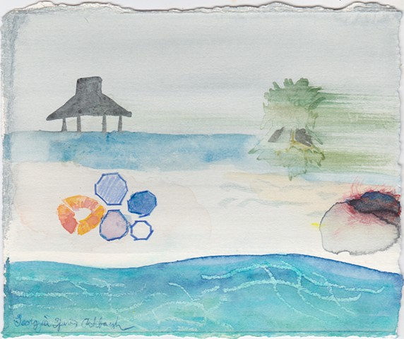 Jellyfish, pier piece with hut, blowing palm trees ocean tide pools, tile paths, with life preserver by Georgia Spivey Ashbaugh