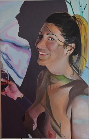 emily lovejoy Artist art painting acrylic on canvas Portrait of jessica by emily lovejoy
