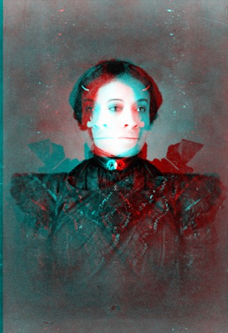 Woman in Black (Cross Fade)  (3D Image with 3D Glasses)