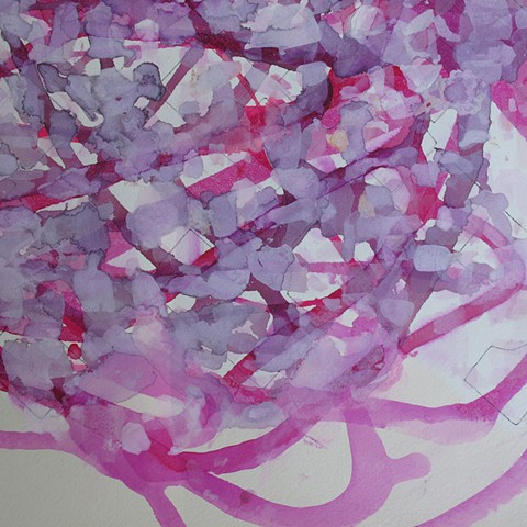 Untitled (magenta watercolor and gouache on paper