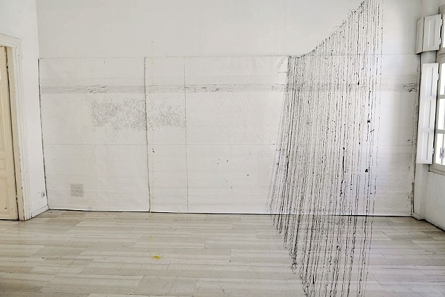Dimitra Skandali, Paros, Greece, Aegean Sea, Site specific installation, natural materials, sea grass, seaweed, drawing