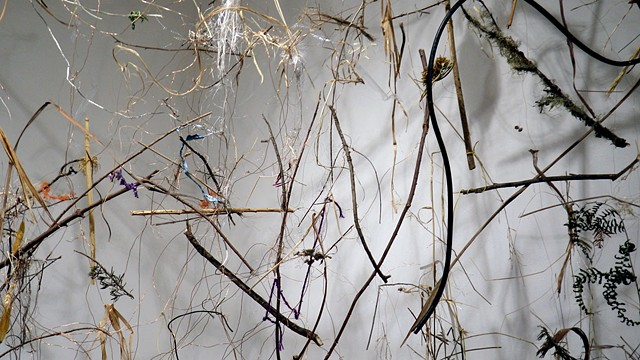 Dimitra Skandali, Site specific installation, natural materials, branches, found objects, Lucid Art Foundation, Inverness, Point Reyes Station, Gallery Route One