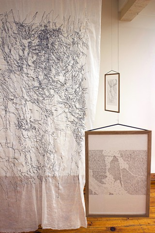 poetry, embroidered sea grass, navigation maps, Atlantic Ocean, Pacific Ocean, Don Soker Contemporary, San Francisco, Dimitra Skandali, Bay Area Art, Greek Art, Aegean Sea