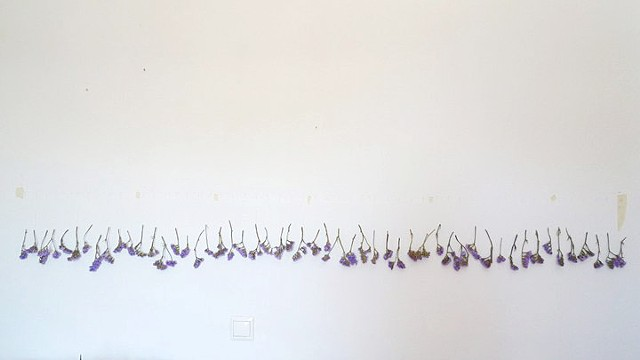 Dimitra Skandali, Paros, Greece, Aegean Sea, Site specific installation, natural materials, amaranta, flowers, Lefkes village hotel