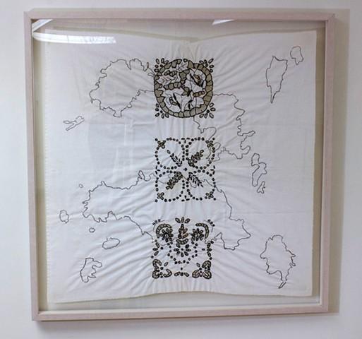 seaweed, embroidered seagrass, fabric, Cyclades, Aegean Sea, Greece, Pacific, Dimitra Skandali, Don Soker Gallery, San Francisco