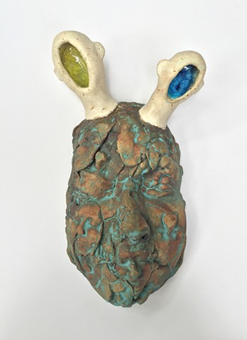 Stoneware, masks, glaze, portrait, oxides, slips, abstract portraits, marbles
