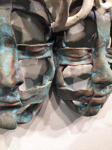 Stoneware, masks, glaze, portrait, oxides, slips, abstract portraits, family portraits
