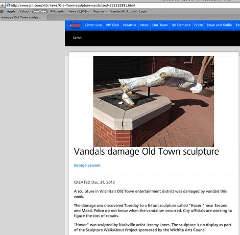 sculpture vandalized in old town, art and vandalism, philistines, we can't have anything nice, art haters