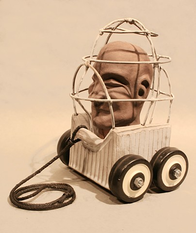 Toys and art, cages, wheels, sculpture, ceramics, jeremy jones