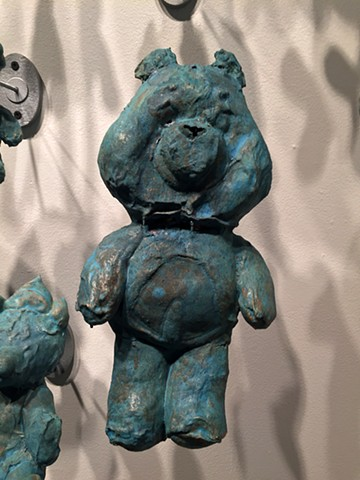 Slip dipped ceramics, stuffed animals, sculpture, childhood and art, parenthood and art