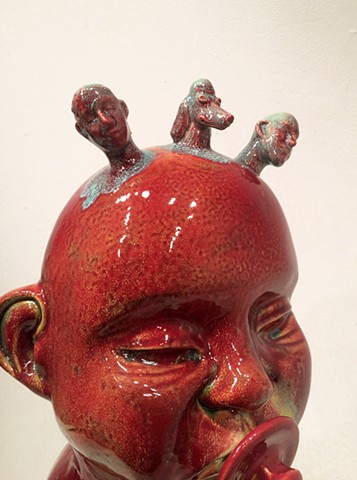Ceramics, large ceramic work, cone 6 glaze, mixed media, 3-D printing, family portrait