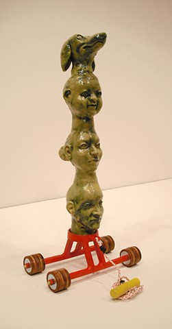 Totem, Family portrait, ceramics, mixed media, modeling, welded steel,