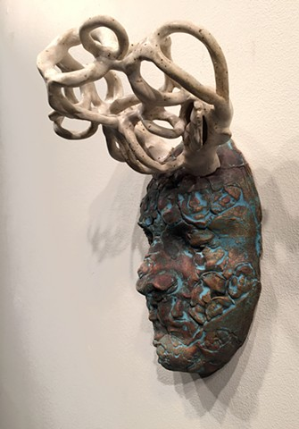 Stoneware, masks, glaze, portrait, oxides, slips, abstract portraits, 6th sense, intuition, alternate realities